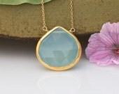 Aqua Blue Chalcedony Necklace - Gemstone Necklace - Gold Necklace - Layering Necklace - Gold Framed Stone - Sea Foam Green Pendant