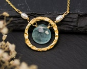 Aquamarine Necklace - March Birthstone Necklace - Bridesmaid Necklace - Wedding Necklace - Gold Necklace