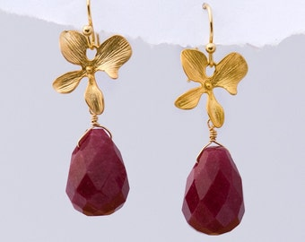 Faceted Ruby Quartz stones with Matte Finished 16K Gold Plating Orchid Flowers