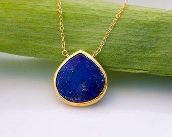 Lapis necklace - Bezel Gemstone necklace - Gold necklace - Something Blue - September Birthstone - Layered Necklace - Stone Pendant