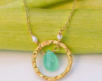 Faceted natural deep Chrysoprase stone and 22k Gold Vermeil Necklace with white freshwater pearls