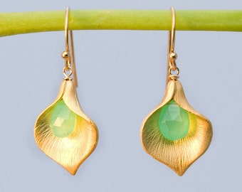 Chrysoprase Earrings - Mint Green Earrings - Calla Lily Earrings - Gold Earrings - Nature Inspired Jewelry