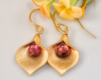 Tourmaline Garnets Earrings - October Birthstone Earrings - Calla Lily Earrings - Gold Earrings - Nature Inspired Jewelry - Gift under 25