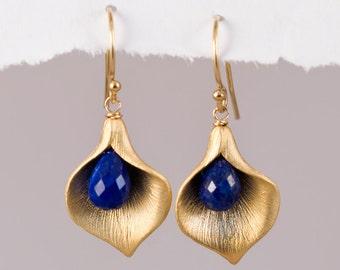 Lapis Earrings - September Birthstone Earrings - Calla Lily Earrings - Gold Earrings - Nature Inspired Jewelry
