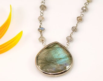 Large faceted bezel set Labradorite drop in Sterling Silver with wire wrapped labradorite beads necklace