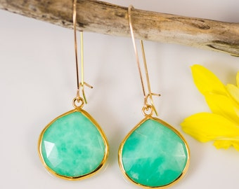 Chrysoprase Earrings -  Long Dangle Earrings - Gemstone Earrings - Gold Earrings - Chrysoprase Jewelry