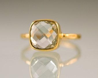 Green Amethyst Cushion Cut Ring Gold - Gemstone Ring - Gold Ring - Bezel Ring - Stackable Ring