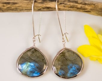 Labradorite Earrings - Long Dangle Earrings - Bezel Set Earrings - Large Gemstone Earrings - Sterling Silver Earrings
