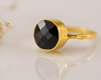 Black Onyx Ring Gold - Gemstone Ring - Stacking Ring - Gold Ring - Round Ring - Stack Ring - Gem Ring