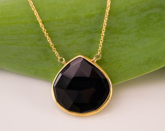 Black Onyx Necklace - 14k Gold Filled Chain - bezel set necklace - gemstone necklace - Gold necklace
