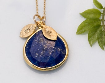 Personalized Mothers Day Gift, Lapis Necklace - Mom Jewelry, Mom Gifts, Mothers Jewelry, Mothers Necklace Birthstone, Mothers Necklace Gold