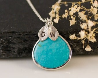 Turquoise Necklace - December Birthstone Necklace - Personalized Necklace - Customize Initials Necklace - Sterling Silver Necklace