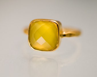 40 0FF - Yellow Chalcedony Ring - Gemstone Ring - Stacking Ring - Gold Plated - Cushion Cut Ring