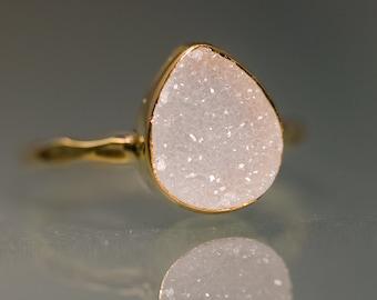 Rough White Druzy Ring Gold - April Birthstone Ring - Gemstone Ring - Stacking Ring - Gold Ring - Tear Drop Ring - Stack Ring