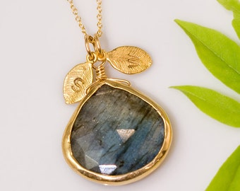 Labradorite Necklace - Personalized Necklace - Customize Initials Necklace - Gemstone Necklace - Gold Necklace