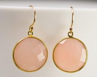 Pink Chalcedony Quartz - October Birthstone Jewelry - Round Gemstone Earrings - Gold Earrings - Drop Earrings