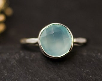 Aqua Blue Chalcedony Ring Silver - Solitaire Ring - Aqua Ring Silver - Stacking Ring - Sterling Silver Ring - Round Ring