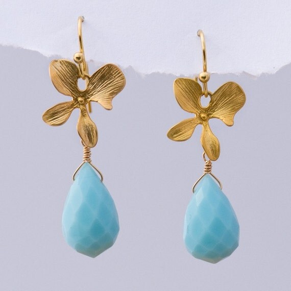 Faceted Blue Quartz stones with Matte Finished 16K Gold Plating Orchid Flowers -