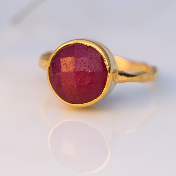 Ruby Ring Gold - July Birthstone Ring - Stackable Stone Ring - Gold Ring - Bezel Set Ring - Stackable ring
