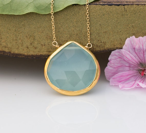 Aqua Blue Chalcedony Necklace - Gemstone Necklace - Gold Necklace - Layering Necklace - Gold Framed Stone - Sea Foam Green Pendant