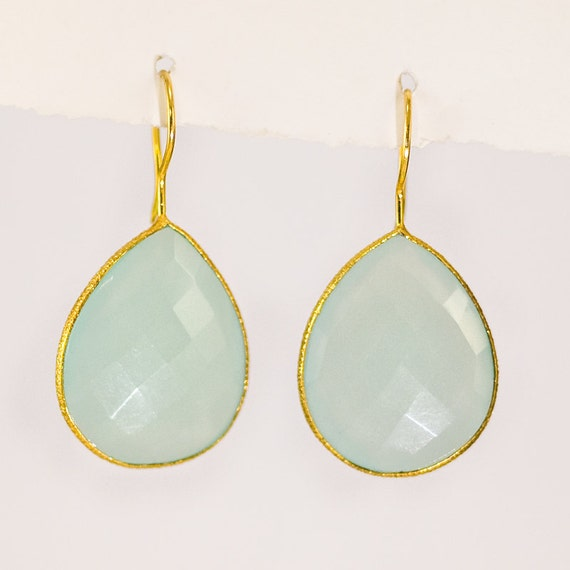10% Off - Large Faceted Bezel set Aqua Blue Chalcedony drop earrings in 22k Gold Vermeil - Mothers Day Sale