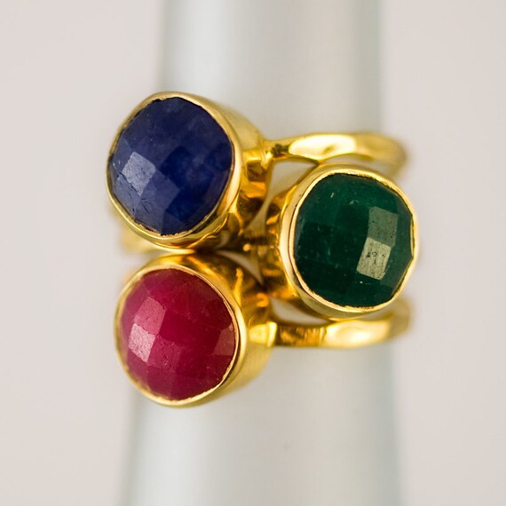 Gemstone Ring - Stackable Rings - Gold Rings -  Emerald - Sapphire -  Ruby -  Bezel Rings - Stackable Rings -