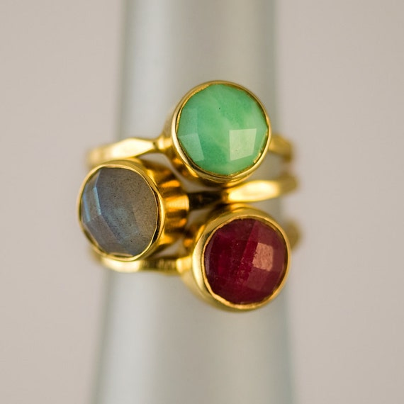 10 gemstone ring stackable rings gold rings by delezhen