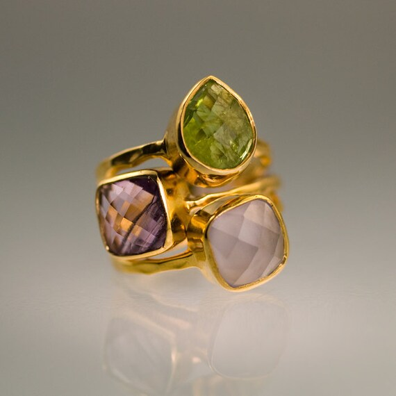 gemstone ring stackable rings gold rings amethyst by delezhen