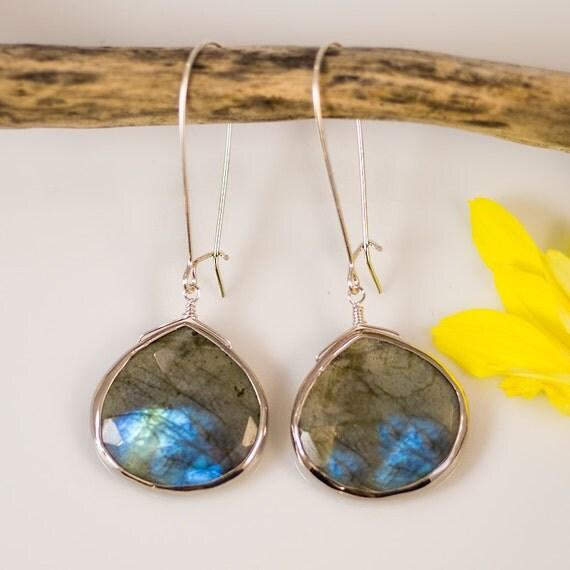 Labradorite Earrings - Long Dangle Earrings - Bezel Set Earrings - Large Gemstone Earrings - Sterling Silver Earrings