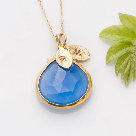Deep Blue Chalcedony Necklace - Personalized Necklace - Customize Initials Necklace - Gemstone Necklace - Gold Necklace