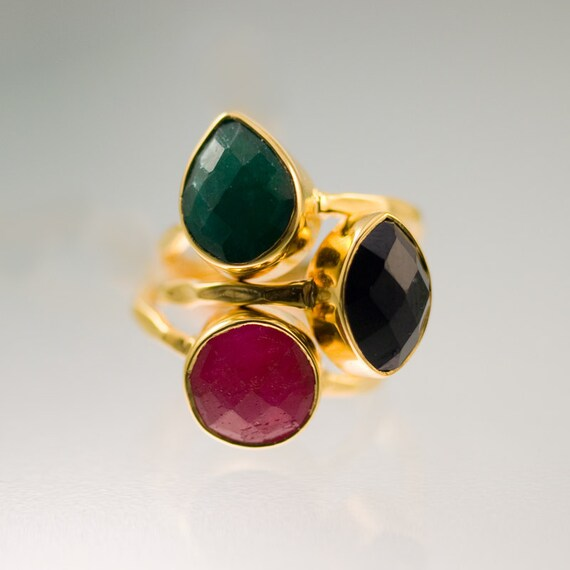 Gemstone Ring - Stacking Rings - Ruby ring - Black Onyx ring -  Emerald ring -  Bezel Rings - Stackable Rings - Size 5