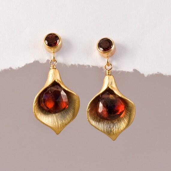 Garnet Earrings - January Birthstone Earrings - Post Earrings - Calla Lily Earrings - Gold Earrings - Nature Inspired Jewelry