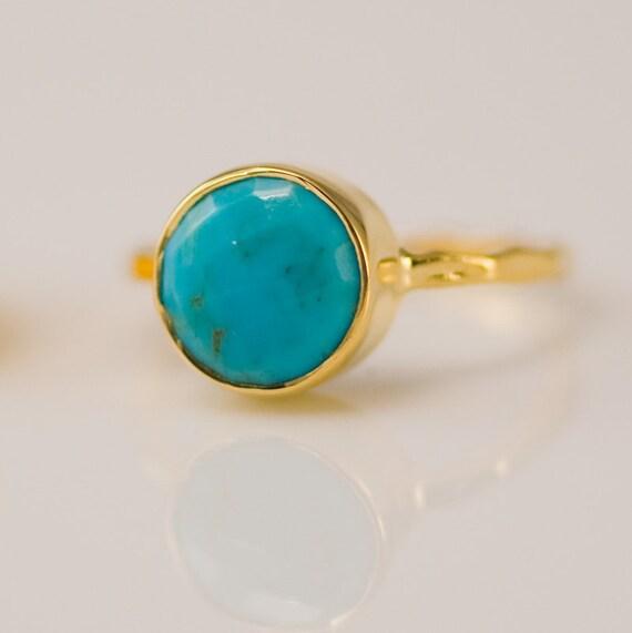 Gold Turquoise Ring - December Birthstone Ring - Stackable Stone Ring - Stacking Ring - Gold Ring - Round Ring