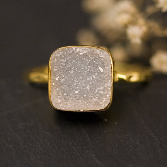 Rough Druzy Ring Gold, April Birthstone Ring, Gemstone Ring, Solitaire Ring, Stacking Ring, Gold Ring, Cushion Cut Ring, Gift for Mom