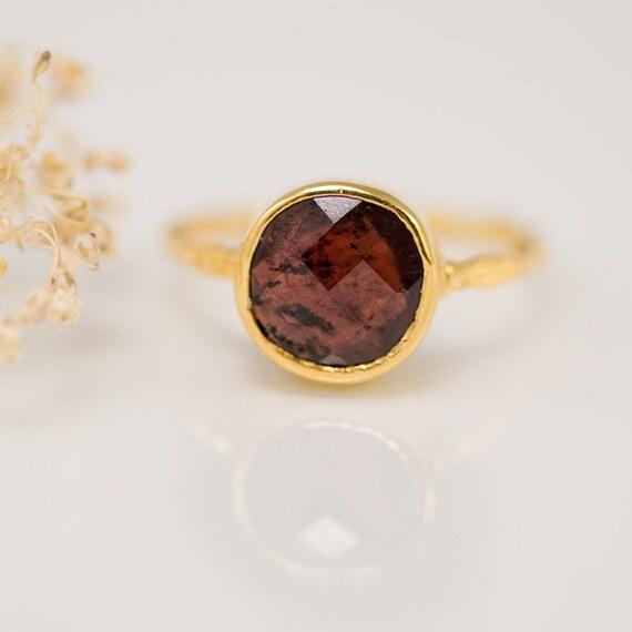 garnet ring january birthstone ring gemstone ring by delezhen