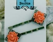 Coral Lettuce Leaf Rose Bobby Pin (set of 2)