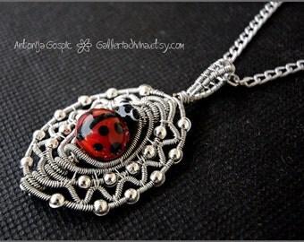 Wire wrapped Ladybug pendant