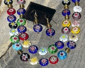 BOUQUET of FLOWERS millefiori glass necklace & earring set
