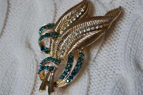 Vintage Blue/Green Rhinestone Leaf Brooch