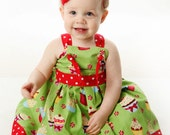 Retro Sparkly Peppermint Cupcake Red & Green Christmas Dress - 6 12 18 24 2T 3T 4T 5T - Made To Order