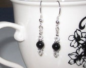 Black Onyx Earrings Boho Chic Swarovski Crystals Sterling Silver Beads Gifts for Her Under 25, Christmas stocking stuffer, Gifts for Wife