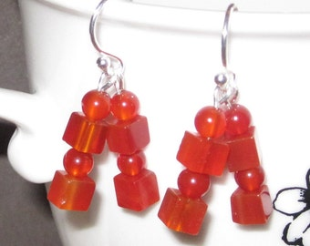 Carnelian Fertility Healing Crystals Chakra Earrings One-Of-A-Kind Geometric Cubism Bridal Birthday Wedding Bridal Mother's Day Gift for Her