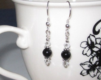 Black Onyx Dangle Earrings Boho Style, Swarovski Crystals Bali Sterling Silver Earrings, Gifts for Mom Bridesmaids Budget Friendly Bohemian