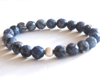 Blue sodalite beaded bracelet budget friendly gift for women wife girlfriend healing crystal brow chakra bracelet mala beads balance jewelry
