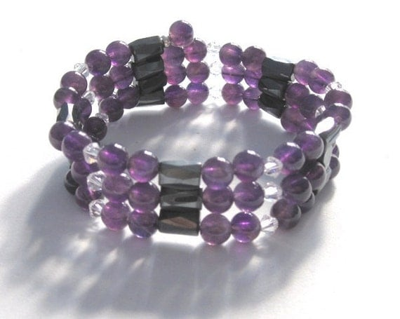 Amethyst Bracelet Gemstone Necklace, Magnetic Bracelet Swarovski Crystals Birthday Gift for her mother February Birthstone Jewelry
