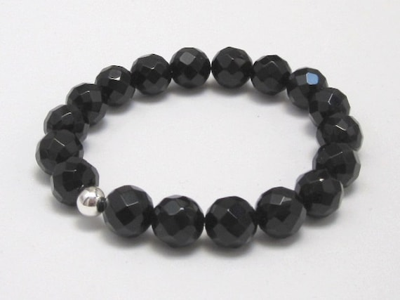 Black Onyx Base Chakra Bracelet, Birthday Gift idea for women & men, Couples Bracelet Sterling Silver Bead, Zen Yoga Bohemian Jewelry