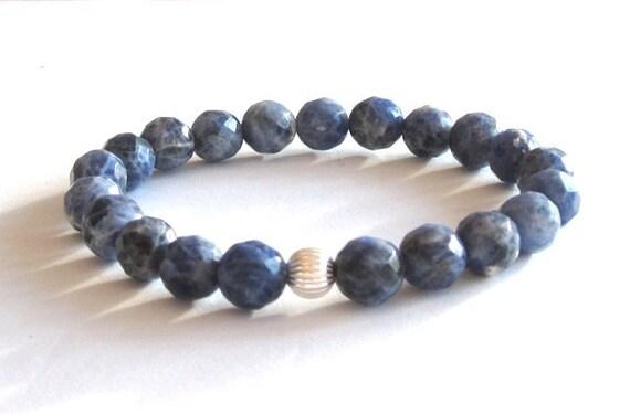 Blue sodalite chakra bracelet budget friendly gift for women wife girlfriend healing crystal brow chakra bracelet mala beads balance jewelry