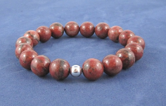 Red Jasper Chakra Mala Beads Bracelet Yoga, Healing Gemstones for Women Men Beaded Bracelet Couples Jewelry Gifts Under 30 for Anniversary