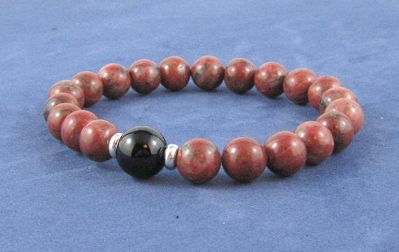 Red Jasper Black Onyx Mens Mala Beads Chakra Bracelet Sterling Beads Yoga Bracelet, Worry Beads, Meditation Beads, Boho Jewelry Gift ideas