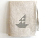 DISH TOWEL linen grey sailboat